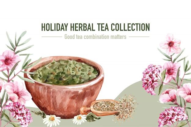 Quadro de chá de ervas com flor, hibisco, hortênsia, ilustração de aquarela de folha.