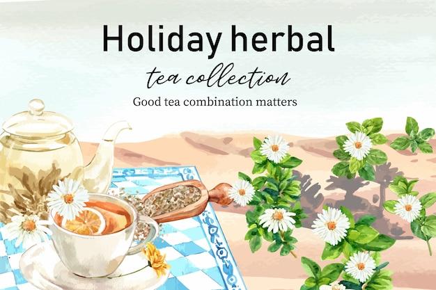 Quadro de chá de ervas com lago, camomila, ilustração de aquarela de pote de chá.