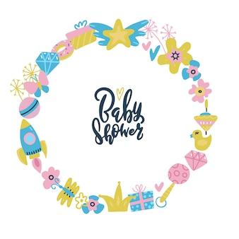 Quadro de chuveiro de bebê. citação de letras dentro de grinalda redonda brinquedos e flowerts.