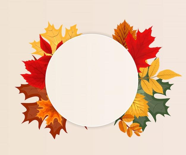 Quadro de círculo arredondado com folhas de outono caindo