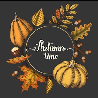 Quadro de círculo arredondado com tema outono, folhas e abóboras