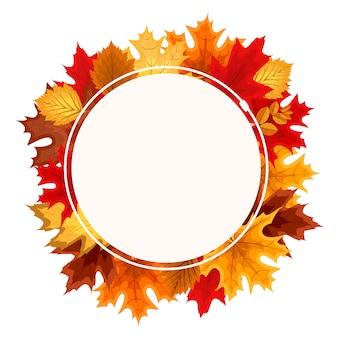 Quadro de círculo arredondado de queda das folhas de outono