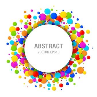 Quadro de círculo colorido brilhante confete colorido isolado no fundo branco aniversário