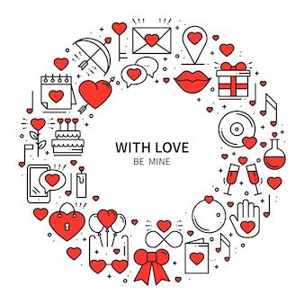 Quadro de círculo com símbolos de amor.