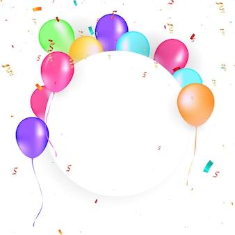 Quadro de círculo de balões com confete