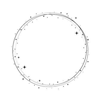 Quadro de círculo de estrelas de brilho. borda de poeira estelar redonda de grinalda para festa, design de decoração de aniversário. moldura laurel com brilho cósmico cósmico. ilustração em vetor plana preta isolada.