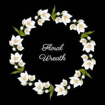 Quadro de círculo de flor de jasmim