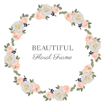Quadro de círculo de flores com buquê de rosa pastel