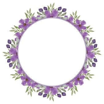 Quadro de círculo de guirlanda roxa com flor roxa e borda de folhas verdes