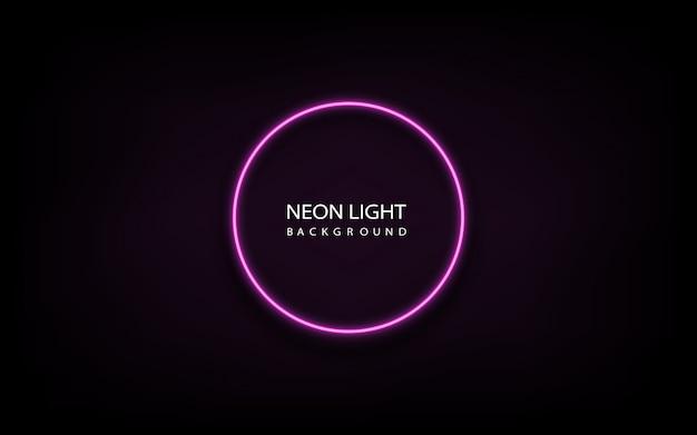 Quadro de círculo de luz de néon rosa na ilustração de fundo