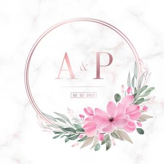Quadro de círculo de ouro rosa com floral em fundo de mármore para logotipo de monograma de casamento e cartão de convite