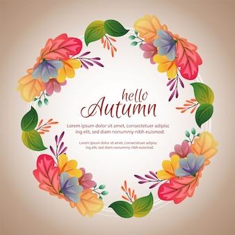 Quadro de círculo de outono com folhas coloridas únicas