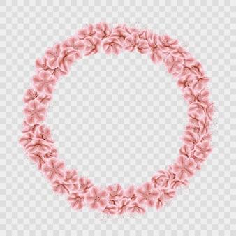 Quadro de círculo de pétalas de sakura em fundo transparente.
