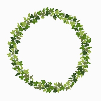 Quadro de círculo de trepadeira verde com coroa de hera