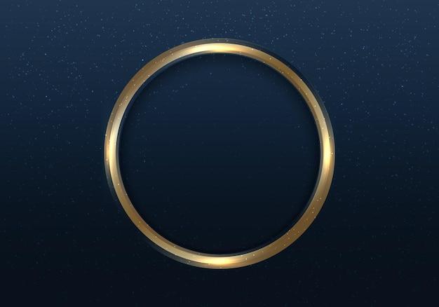 Quadro de círculo dourado com luz e glitter em estilo luxuoso de fundo azul escuro. anel de ouro elegante moldura com espaço para seu texto. ilustração vetorial