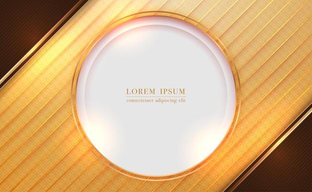 Quadro de círculo dourado e faixa de linha com fundo abstrato cortado em papel marrom
