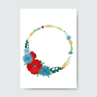 Quadro de círculo feito com flores.