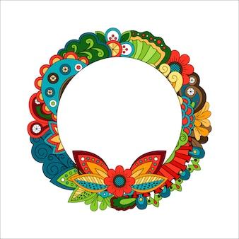 Quadro de círculo floral para sua foto