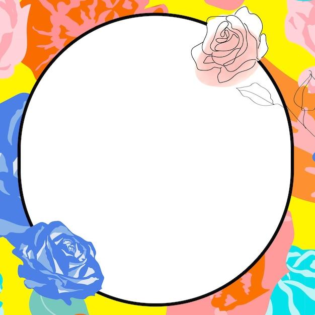 Quadro de círculo floral primavera com rosas coloridas em branco