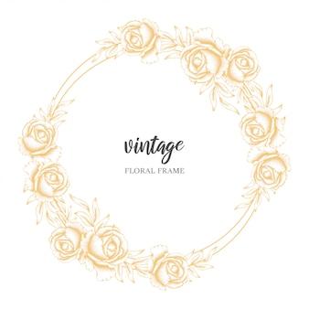 Quadro de círculo floral vintage dourado