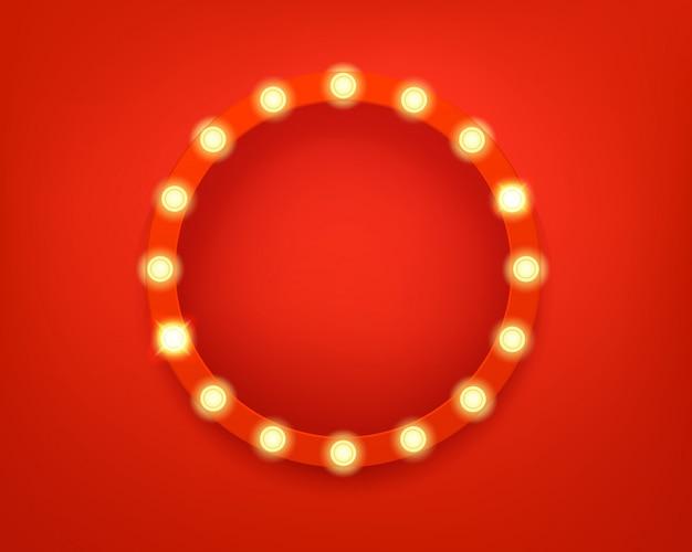 Quadro de círculo iluminado. quadro retro brilhante
