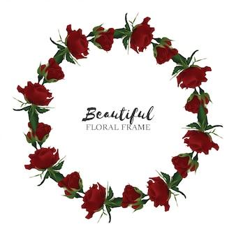 Quadro de círculo linda flor rosa vermelha