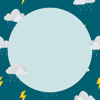 Quadro de círculo verde, ilustração vetorial de clima com padrão de nuvem chuvosa fofa
