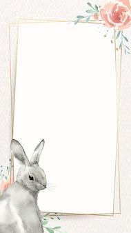Quadro de coelhinho e flor de páscoa