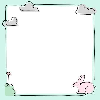 Quadro de coelho da páscoa, vetor de fundo verde