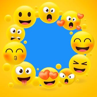Quadro de coleção de emoji dos desenhos animados em amarelo