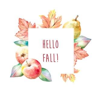 Quadro de colheita outono aquarela com maçãs e peras