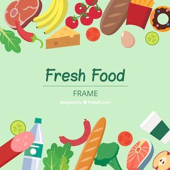 Quadro de comida colorida com design plano
