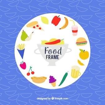 Quadro de comida com estilo desenhado de mão