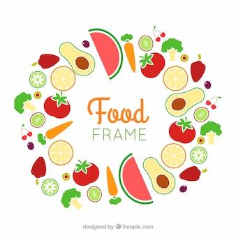 Quadro de comida com frutas e legumes