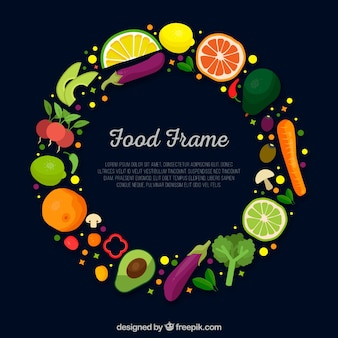 Quadro de comida com legumes e frutas