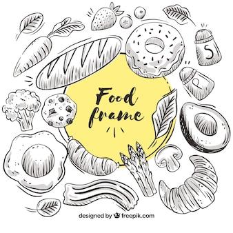 Quadro de comida com legumes e pães