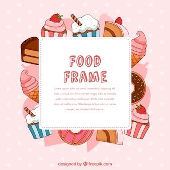 Quadro de comida com sobremesas de mão desenhada