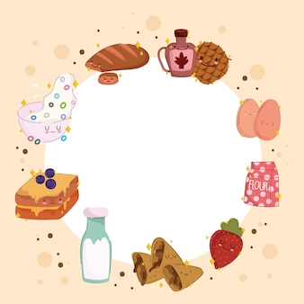 Quadro de comida de café da manhã