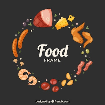Quadro de comida deliciosa com design plano