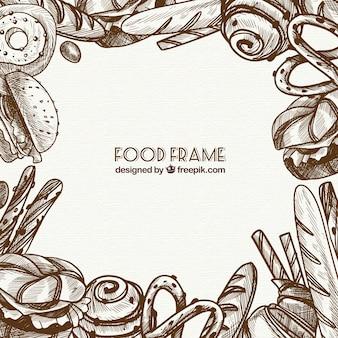 Quadro de comida deliciosa com estilo mão desenhada