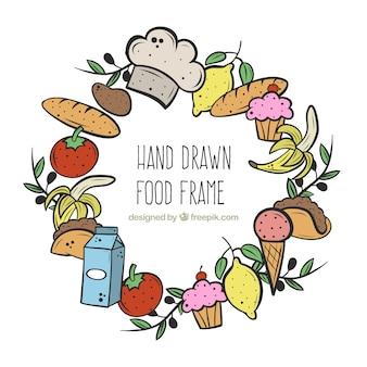 Quadro de comida desenhada de mão com estilo circular