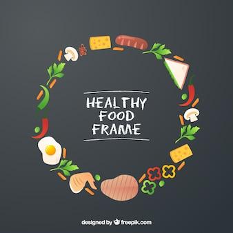 Quadro de comida saudável com design plano