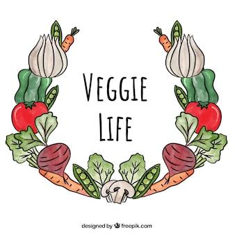 Quadro de comida vegan aquarela