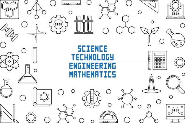 Quadro de conceito de ciência, tecnologia, engenharia e matemática