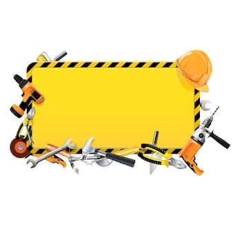 Quadro de construção vetorial com ferramentas