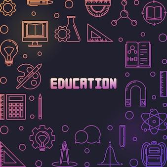 Quadro de contorno colful educação ou ilustração