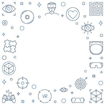 Quadro de contorno de conceito de vr ou ícones