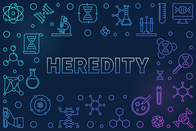 Quadro de contorno horizontal de hereditariedade. conceito icon ilustração