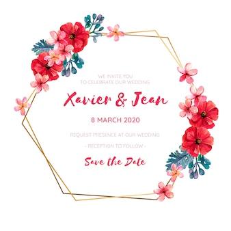 Quadro de convite de casamento com flores vermelhas em aquarela