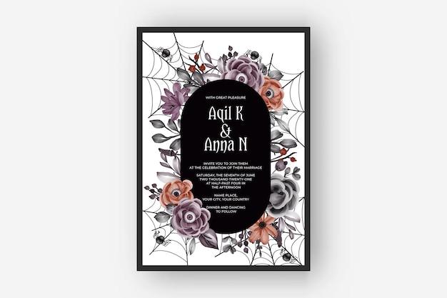 Quadro de convite de casamento feliz dia das bruxas com olhos de flores assustadores